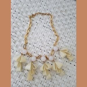 J Crew Ivory Bow Short Statement Necklace